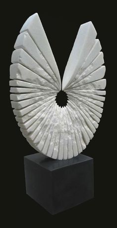 White Marble #sculpture by #sculptor Sava C Marian titled: 'PORTE-BONHEUR (White marble abstract Yard statues)'. #SavaCMarian