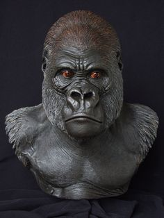 Lowland Gorilla: front view by on DeviantArt Polymer Clay Sculptures, Sculpture Clay, Animal Statues, Animal Sculptures, Gorilla Tattoo, Antler Art, Digital Art Gallery, The Revenant, Ceramic Animals