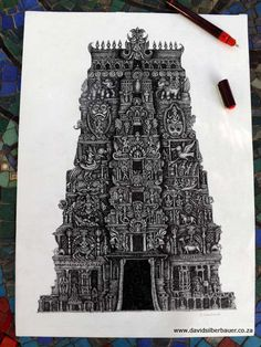 Illustration of a temple with ancient Hindu architectural influence.