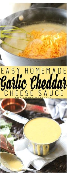This recipe homemade garlic cheddar cheese sauce is easier than you would think! My kids will eat any vegetable when I put this on top!