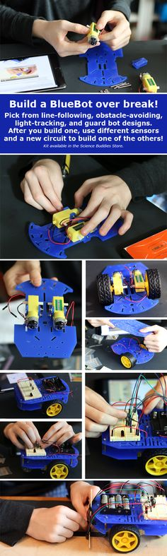 Build a BlueBot Over Break: 4-in-1 Robotics Kit lets kids build light-tracking, obstacle-avoiding, line-following, and guard bot robots. [Source: Science Buddies, http://www.sciencebuddies.org/blog/2015/12/build-a-bluebot-over-break.php?from=Pinterest] #STEM #robotics #BlueBot #scienceproject