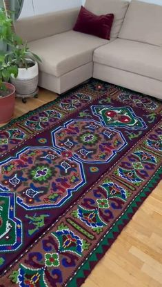 This beautiful carpet is made about 40 years ago, the colors are very beautiful, red wine color for the background with green and blue accents. Filet Crochet Charts, Wool Carpet, Blue Accents, 40 Years, Red Wine, Hand Weaving, Vintage Items, Etsy Seller, My Favorite Things