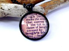 LAUGH dictionary meaning necklace. Vintage by EvasJewellery, $11.99