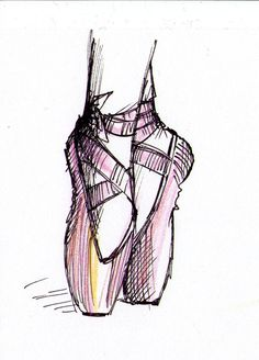 Click on all to enlarge (although, in case of the ballet shoes it's not exactly necessary). This is a quick sketch of ballet dancers I did over the weekend when I was actually supposed to cod…