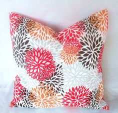 "Decorative pillow cover in red, grey and brown bloom 18""X18"" toss pillow, pillow case, decorative throw pillow, throw pillow. $15.00, via Etsy."