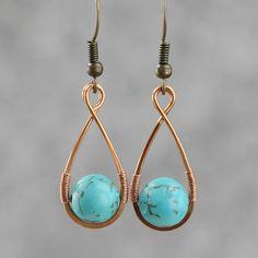 Turquoise Copper wire wrapped earrings by AnniDesignsllc on Etsy Wire Wrapped Earrings, Copper Earrings, Copper Jewelry, Teardrop Earrings, Copper Wire, Turquoise Jewelry, Glass Jewelry, Boho Earrings, Earrings Handmade