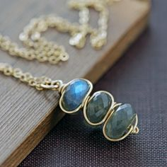 Labradorite Necklace 14k Gold Fill Wrapped Gray Gemstone Pendant- Cairn