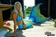 Mermaid Chelsea of the famous Weeki Wachee mermaids. Top and tail by Merbella Studios