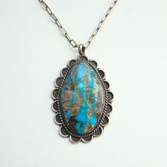 Vintage Turquoise Sterling Silver Pendant Necklace Southwestern Tribal Fabulous Matrix by redroselady on Etsy
