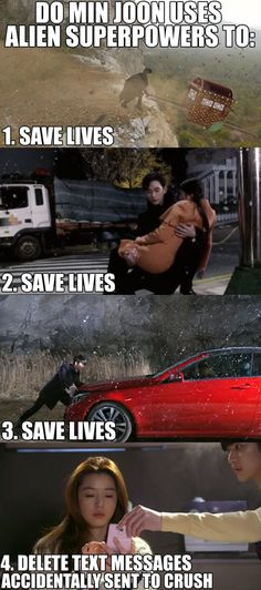 hahaha, that was the cutest thing ever!! If only we had Min Joon's powers! Sigh, My Love From Another Star