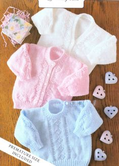 PDF Digital Premature Baby Knitting Pattern Sweaters Cardigans Double Knitting Newborn 14-22