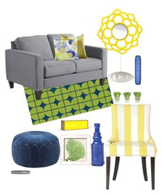 """""""yellow and blue"""" by modern-glam-designs on Polyvore featuring interior, interiors, interior design, home, home decor, interior decorating, Loloi Rugs, Pier 1 Imports, Cultural Intrigue and NDI"""