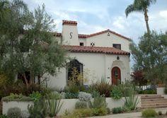 terraced Spanish Colonial Revival house & garden