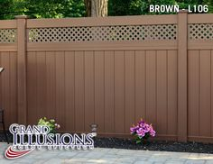 Color Privacy Tongue and Groove Small Lattice Fence Shown in Brown Mix 'n' Match Color Capabilty! Vinyl Fence Panels, Garden Fence Panels, Lattice Fence, Front Yard Fence, Fence Art, Vinyl Fencing, Low Fence, Horse Fence, Garden Fencing
