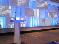 Corporate Event Custom Set Design using LEDs, Media Server and Projection.