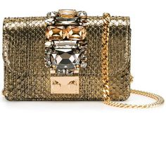 Gedebe Clicky Pochette With Jewel Details ($340) ❤ liked on Polyvore featuring bags, handbags, clutches, gold, jewel purse, jeweled purse, miniature purse, mini handbags and brown handbags