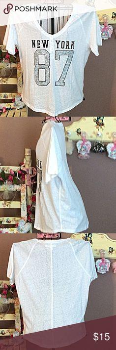 Aero Henley Bling tee NWOT  Aeropostale Bling Henley tee with shiny silver numbers NWOT Aeropostale Tops Tees - Short Sleeve