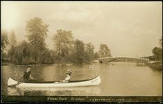 Couple taking a canoe ride in Forest Park. (1905)