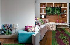 Cozinha iluminada, sofá de cinco metros, mesa de jantar para até oito pessoas. Em seu pequeno-grande apartamento, a designer de interiores Amanda Borges fez caber esses e outros luxos, típicos de casas espaçosas