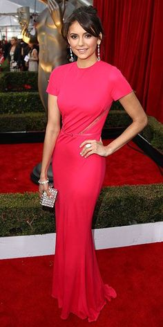 Screen Actors Guild Awards 2013: Nina Dobrev in a pink Elie Saab gown that she accented with sparkling jewels and a box clutch to match.