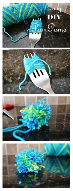 yarn pom pom on a fork.  Cats will love to play with these.