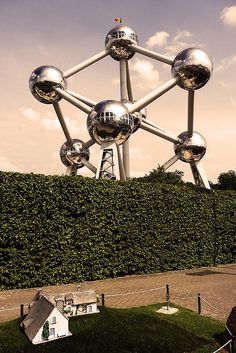 This is the amazing Atomium in Brussels (Belgium). Built in 1958 for the Brussels World Fair; it now home a number of exhibitions, as well as private functions. The top sphere of the building also offers some stunning panoramic views over the city.via atlasobscura.com