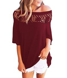 Boosouly Women's Stylish One Shoulder Top Stretch Crochet...