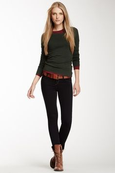 Avedon skinny jeans boots layers color underneath grey slate longsleeve red orange belt