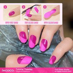 #HowTo create diagonal #nailart with #Incoco!
