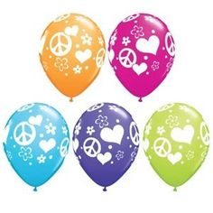 Peace Signs and Hearts Latex Balloons Party Supplies Peace Sign Party, Peace Sign Birthday, Peace Signs, Roller Skating Party, Skate Party, 1960s Party, 60th Birthday Party, Party Stores, Diy Party