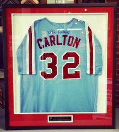 Game worn jersey signed by #Phillies pitcher Steve Carlton! Custom framed by FastFrame of LoDo. #art #framing #denver #colorado #philadelphia #jersey #shadowbox