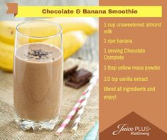 Super healthy smoothie recipe with Juice Plus Vanilla Chocolate Banana Smoothie. Super healthy smoothie recipe with Juice Plus Vanilla Chocolate Banana Smoothie. Super healthy smoothie recipe with Juice Plus Vanilla Vanilla Protein Shakes, Protein Shake Recipes, Smoothie Recipes, Juice Recipes, Healthy Recipes, Healthy Meals, Chocolate Banana Smoothie, Peanut Butter Smoothie, Juice Plus Shakes