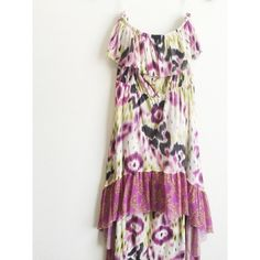 Like New Strapless Anthropologie Summer Dress Super cute like new strapless high low dress from Anthropologie (made by Lilka) size small. Has shades of off-white, purple, black and lime green. No trades. No PayPal. Anthropologie Dresses