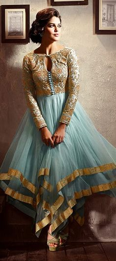 411594:#GetThisLook like #izabelleleite in asymmetric #anarkali. #Bollywood #pastel #bridal #partywear