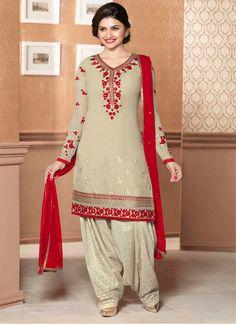 Prachi Desai Beige Faux Georgette Punjabi Suit, Product Code :9092, shop now http://www.sareesaga.com/prachi-desai-beige-faux-georgette-punjabi-suit-9092 Email :support@sareesaga.com What's App or Call : +91-9825192886