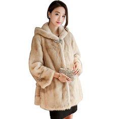 ... Comprar Abrigo de Invierno Mujeres Abrigo de Piel Chaqueta de piel Nueva  Chaqueta de Las Mujeres Con Capucha imitación de Piel de Visón Hembra  Abrigo de ... daca320c39c