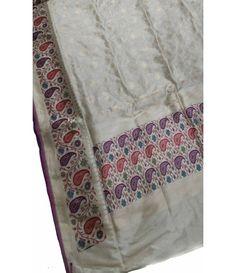 Off White Banarasi Handloom Silk Saree