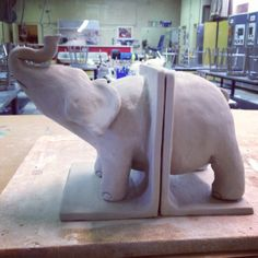Jayson Pineda: ceramic elephant book ends