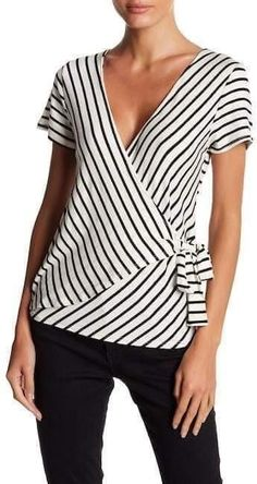 Blusher Socialite Short Sleeve Striped Wrap Top - for women sites Blouse Styles, Blouse Designs, Trendy Outfits, Fashion Outfits, Fashion Tips, Emo Fashion, Full Figure Fashion, Stripes Fashion, Ladies Dress Design