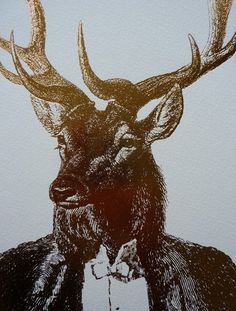 I am strangely fond of animal-human hybrids in art!  Golden Stag, by Dan Hillier