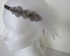Champagne 1920s Headpiece Gatsby Headband от GothamCityStyle