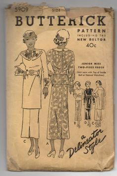 Butterick 5909 | ca. 1934 Junior Miss Two-Piece Frock