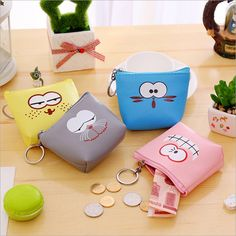 YOUYOU MOUSE Lovely Animal Pattern Coin Purse Waterproof PU Leather Women Coin Pouch Zipper Creative Small Coin Purse Wallet
