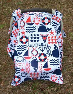 Nautical Print Baby Car Seat Cover - Too Cute!