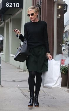 Try Chic Dark Layers Like Portia de Rossi  Portia de Rossi isn't usually on our radar of street style, but boy can the girl dress! We've never seen dark layers look so refined.