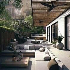 The Craft - Architectural & Interior Design Visualization - Lipski 12 - Interiors Patio Design, Exterior Design, Interior And Exterior, Garden Design, House Design, Loft Design, Facade Design, Outdoor Living Rooms, Outdoor Spaces