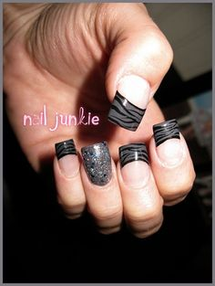 Grey Zebra by Dana_NailJunkie - Nail Art Gallery nailartgallery.nailsmag.com by Nails Magazine www.nailsmag.com #nailart