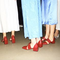 Jil Sander block-heel footwear, backstage Milan Fashion Week