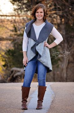 """Circle vest free pattern, can't get link to work, but best for 60"""" fabric, place on fold, half circle. Cut armholes and finish off edges."""
