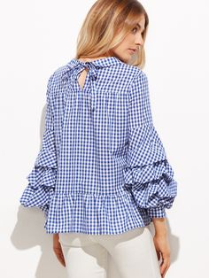 Online shopping for Blue Gingham Peter Pan Collar Billow Sleeve Peplum Blouse from a great selection of women's fashion clothing & more at MakeMeChic. Blouse Styles, Blouse Designs, Hijab Fashion, Fashion Outfits, Denim And Lace, Peplum Blouse, Blue Gingham, Mode Hijab, Japan Fashion